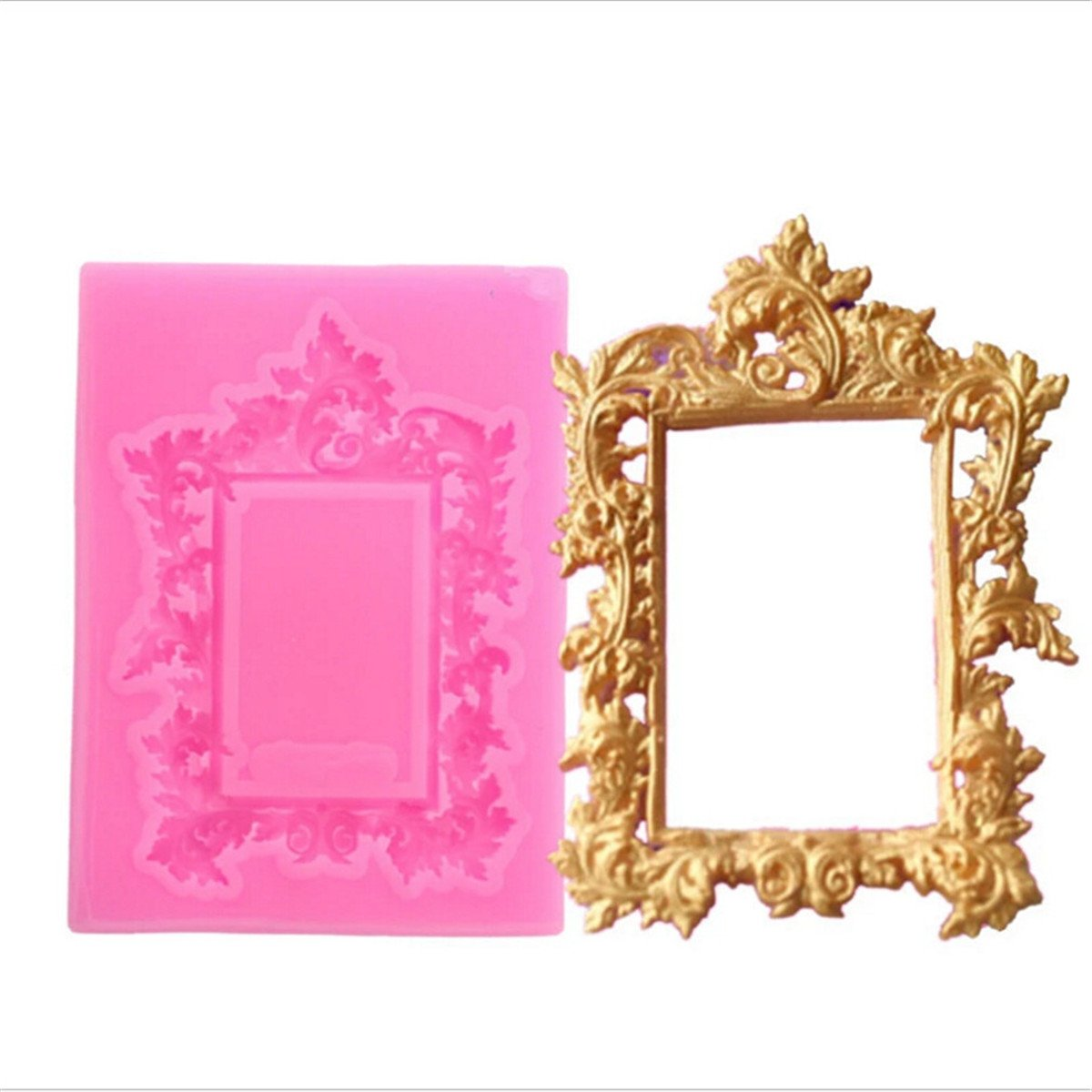 CH Pink Picture Frame Silicone Mold Fondant Mold Cake Decorating Tools Chocolate Kitchen Baking Mold