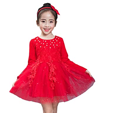 49021754f little dragon pig Red Dresses Toddler Girl Flower Tulle Dress Wedding Party  Fall Clothes 4T Long