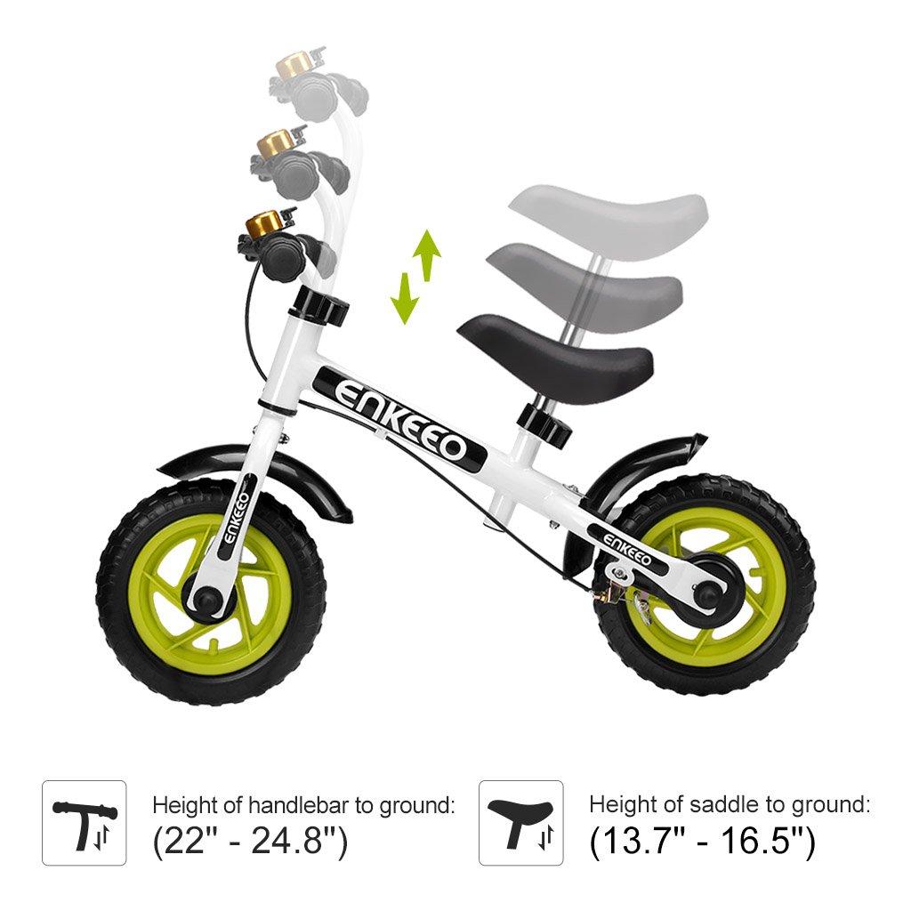 ENKEEO Bicicleta sin Pedales Equilibrio para Ni/ños Infantiles con Timbre y Freno, Altura Ajustable de Manillar y Sill/ín, Ruedas Robustas, Manejo Facil y Seguro