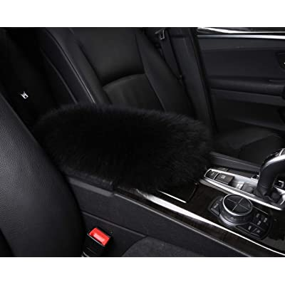 Furry Armrest Cover for Car, Real Sheepskin Wool Fur Soft Fluffy Auto Center Console Cover, Universal Fit, Black: Automotive