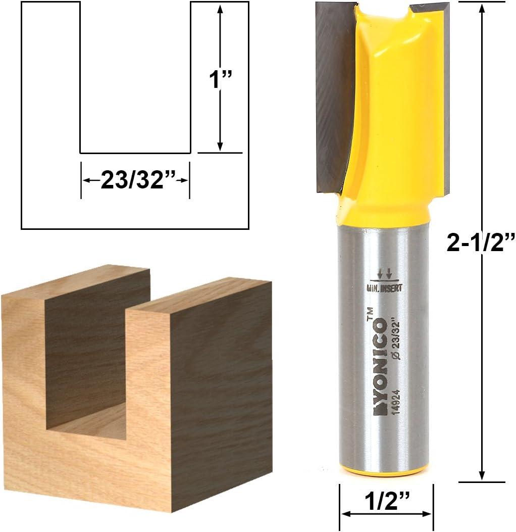 Yonico 14924 23//32-Inch Undersized Plywood Straight Dado Router Bit 1//2-Inch Shank