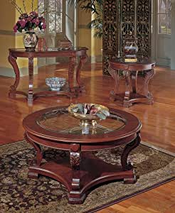 Steve Silver Canterbury Etched Glass Cherry Coffee Table