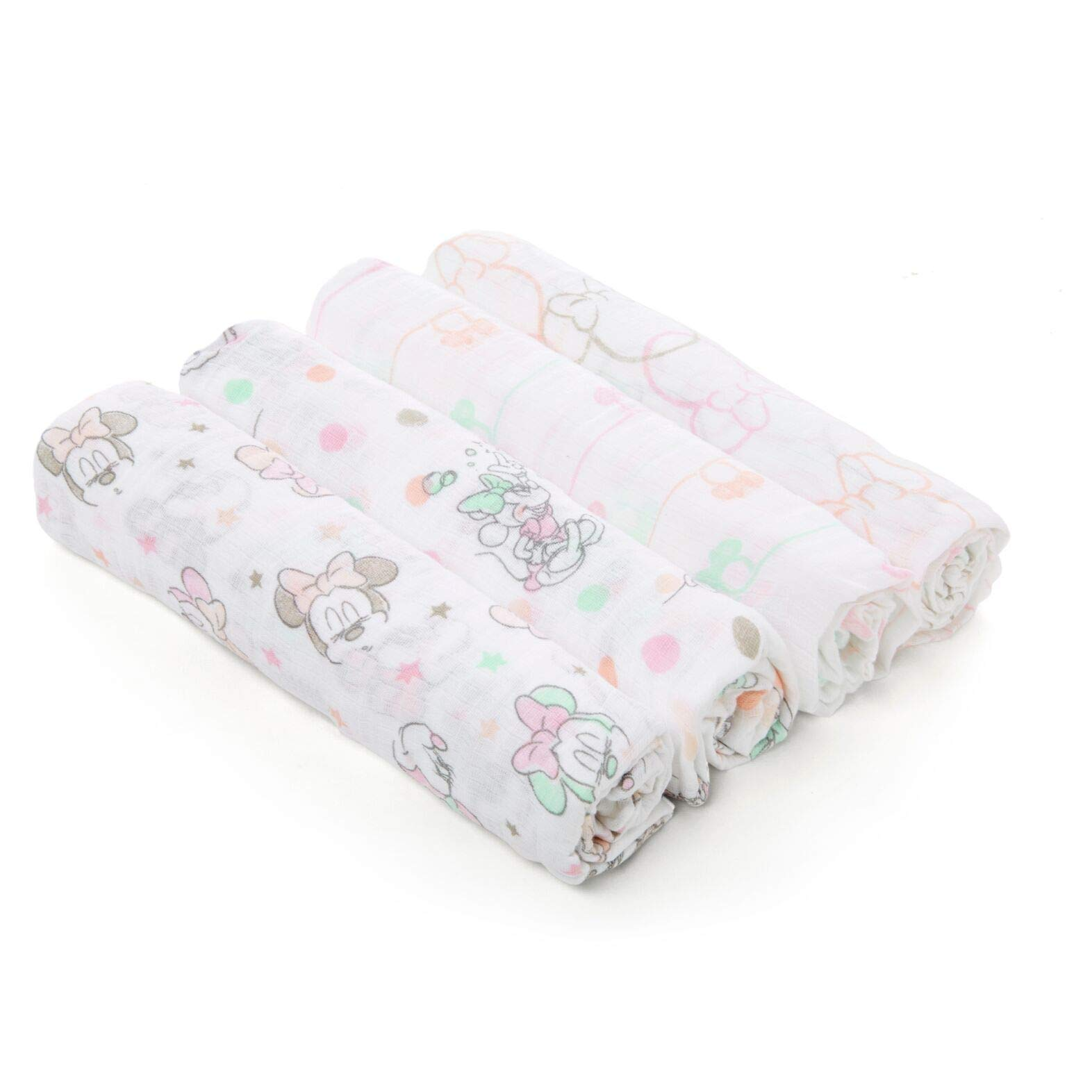 Aden by aden + anais Disney Swaddle Baby Blanket, 100% Cotton Muslin, 4 Pack, 44 X 44 inch, Minnie Bubble