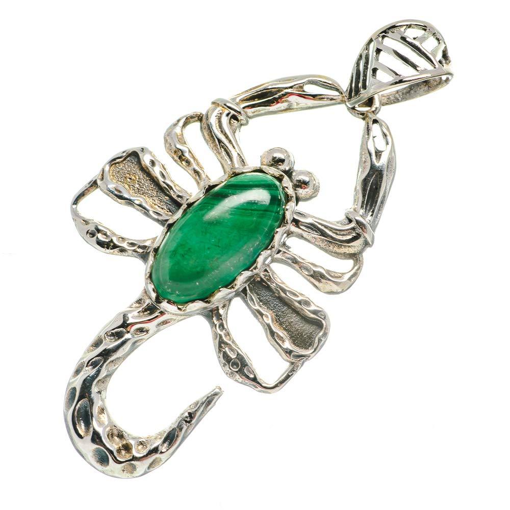 - Handmade Jewelry Ana Silver Co Malachite Scorpion Pendant 2 1//4 Bohemian 925 Sterling Silver Vintage PD692601
