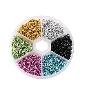 1 Box 6mm Aluminum Jump Rings Mix Color Open Single Loops Jewelry DIY Nail Art Decor Dangle Nail Art Charms Glitter 3D Nails Rhinestones Acrylic Decoration Metal Alloy Designs (Set 2)