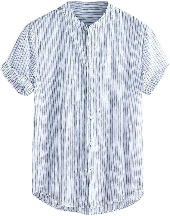 Beautyfine Mens V Neck T Shirts Baggy Cotton Linen Long Sleeve Summer Retro Tops Blouse