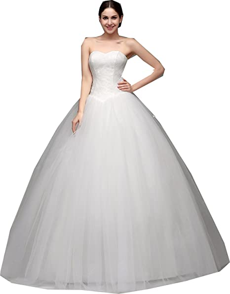 Image Unavailable. Image not available for. Color  EieenDor Women s  Sweetheart Tulle Wedding Dresses Simple Bridal Dress Elegant Ball Gown White bffbb66e1b