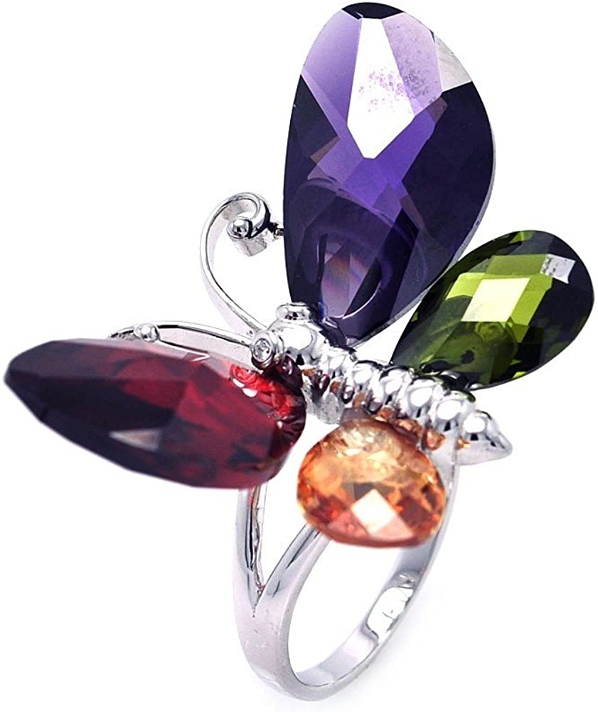 Princess Kylie Multi-Color Stone Cubic Zirconia Butterfly Shaped Ring Rhodium Plated Sterling Silver