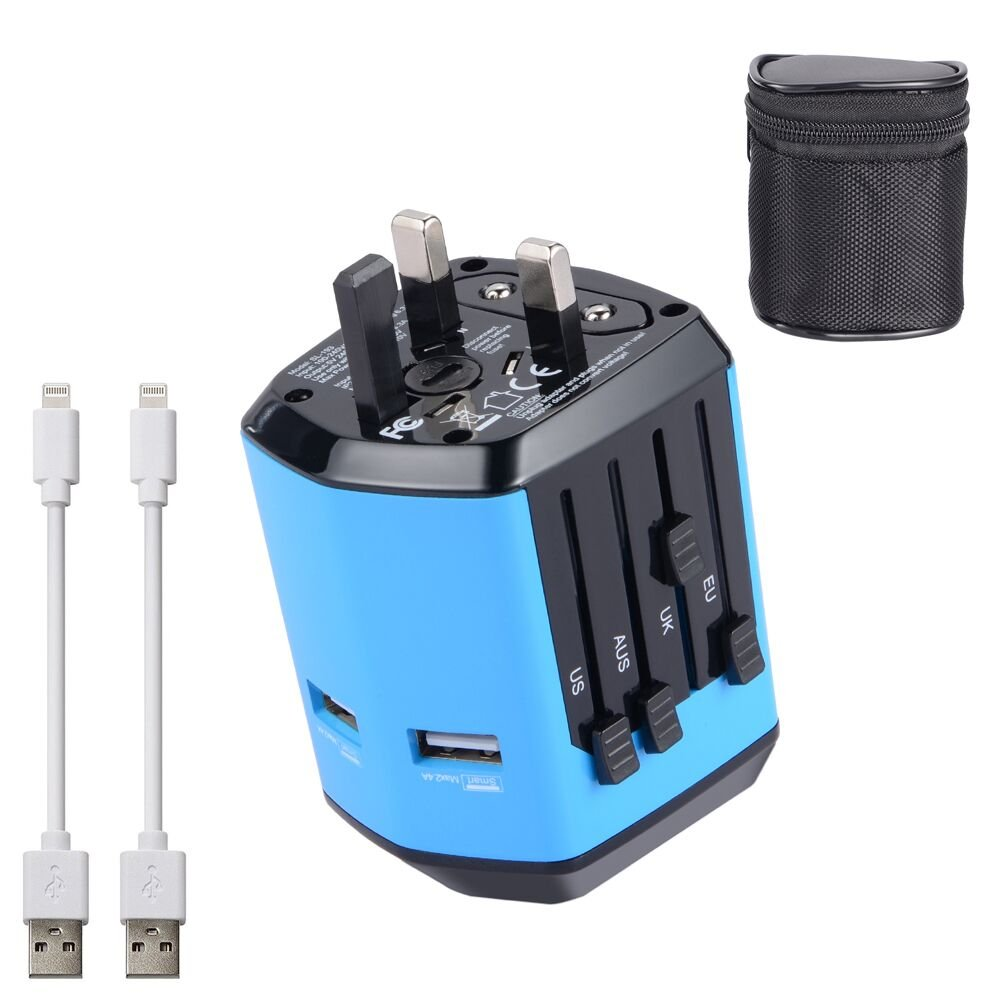 SULCATA International Travel Power Adapter with 2 USB 2.4A Charger & Worldwide AC Wall Outlet Plugs for UK, US, AU, Europe,Italy &Asia - Safety Fused, Gift Pouch – Blue