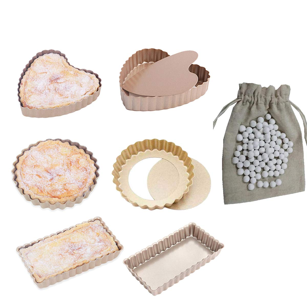 CANDeal Pie Mould Set, 6 pcs Mini Pie Tart Quiche Baking Pan and 1lb Ceramic Baking Beans Pie Weight, Round/Rectangular/Heart varied shape Loose Bottom Mould
