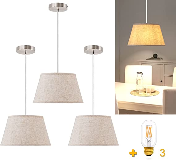 QIYIZM Pendant Lighting Hanging Light Fixtures for Kitchen Island Modern Adjustable Hanging Ceiling Lamp wiht Beige Linen Shade for Dining Room,Living Room,Sink,Farmhouse 3 Pack(LED Bulb Included)