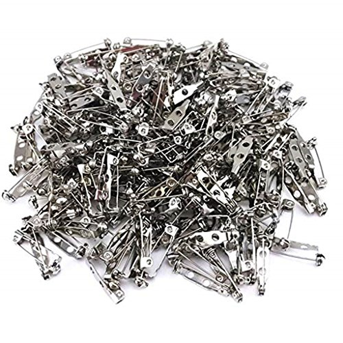 Badges Craft (144 Pieces Silver Tone Brooch Pin Backs Safety Pin Jewelry Crafts- 3/4