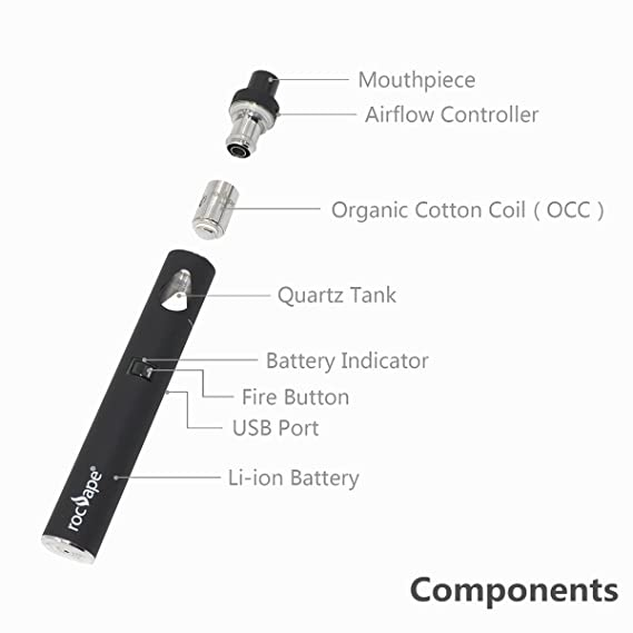 AIO Liquido Vaper - Rocvape Origo CVT E-liquid Cigarrillo Electronico - 2ml Atomizador Top Fill y Top Airflow Vapeador I 0.5ohm Resistencias OCC Vapor Coil ...