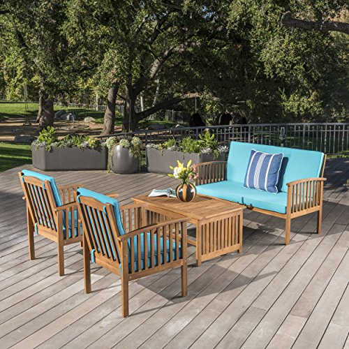 4 Piece Conversation Set (Cape Town Outdoor 4 Piece Brown Patina Acacia Wood Sofa Set with Teal Water Resistant Cushions)