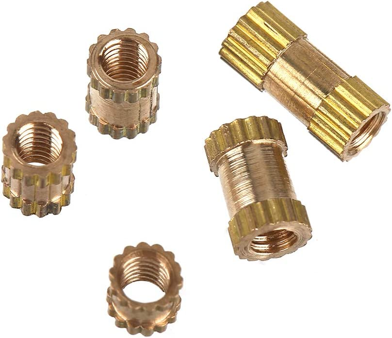 150pcs M2.5 Brass Insert Knurled Durable and Heat-Resistant Cylinder Knurled Round Molded-in Insert Embedded Nuts with Different Lengths