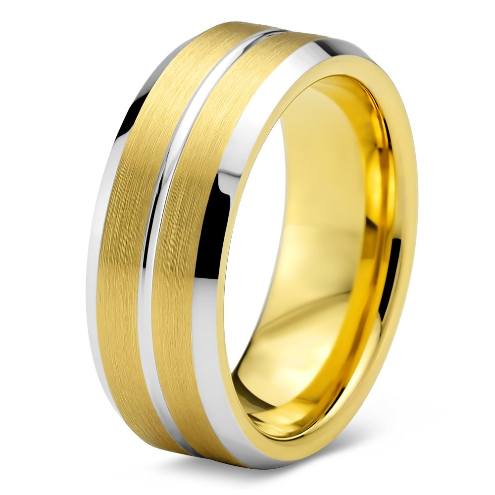 Tungsten Wedding Band Ring 8mm for Men Women Comfort Fit Yellow Gold Step Bevel Brushed Yellow Exterior Polished Silver Groove FREE Custom Laser Engraving Lifetime Guarantee