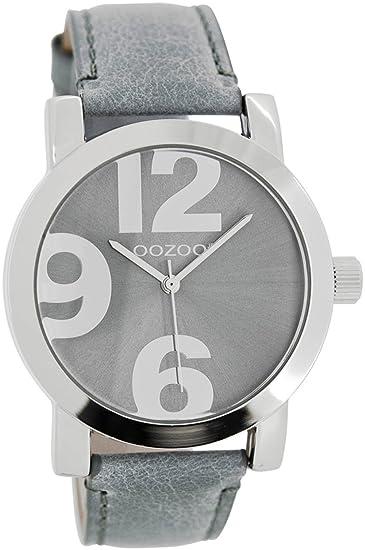 Oozoo Reloj de mujer/Niños con correa de piel 40 mm Gris Azul/Gris Azul JR193: Amazon.es: Relojes
