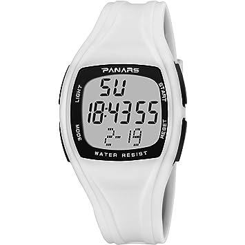 Smart watch Reloj Digital Deportivo Exterior para Hombres Hora Dual Calendario Perpetuo Despertador CronóMetro Luminoso 50M Impermeable Hombres,White: ...