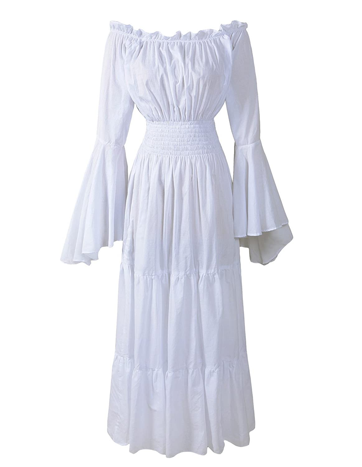 Renaissance Off-Shoulder Trumpet Sleeve White Underdress - DeluxeAdultCostumes.com