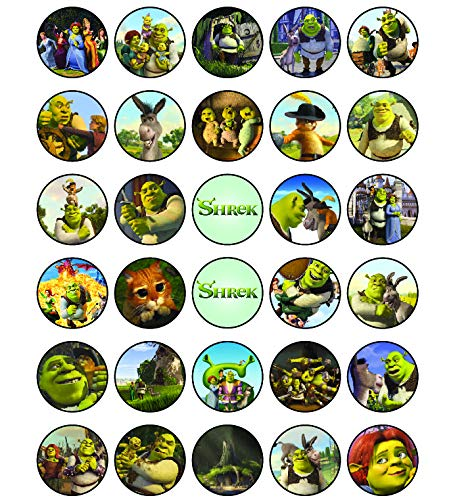 30 x Edible Cupcake Toppers - Shrek Fiona Donkey & Puss Party Themed Collection of Edible Cake Decorations | Uncut Edible Prints on Wafer Sheet
