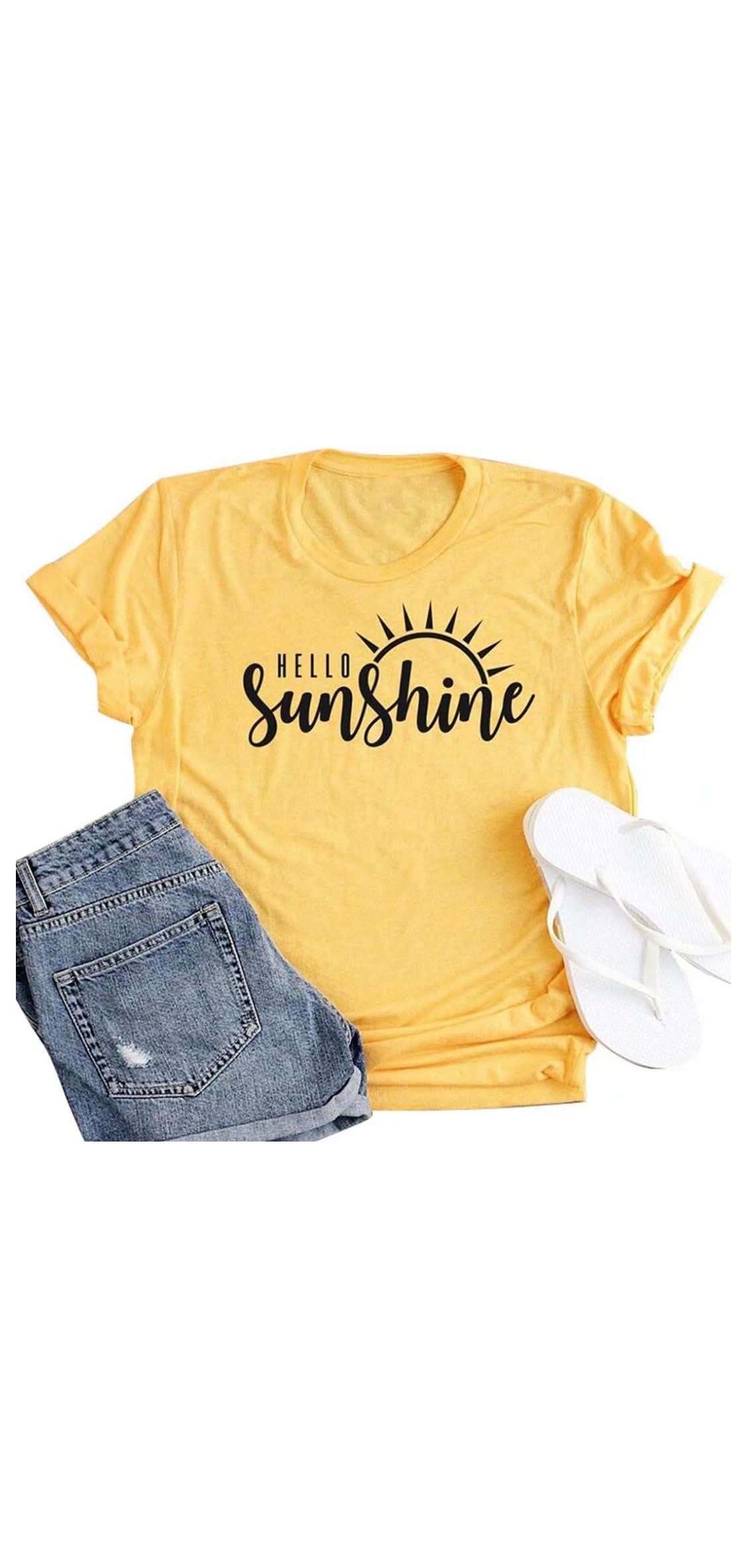 Hello Sunshine Shirt Top Women Summer Short Sleeve Graphic Print