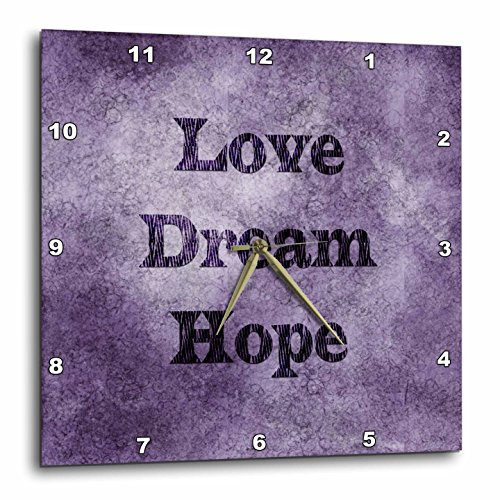 Purple Love, Dream, Hope Zebra Print Word Art Wall Clock