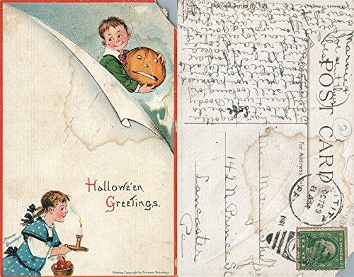 HALLOWEEN GREETINGS 1914 ANTIQUE POSTCARD w/CORK CANCEL]()