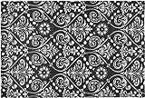 "Farberware Vinyl Spill Proof Outdoor/Indoor Black/White Damask Design Placemat, 12"" x 18"""