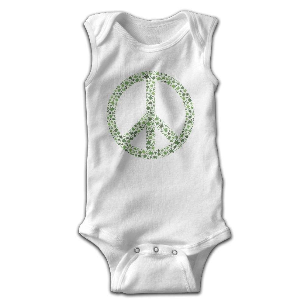 braeccesuit Peace Sign Baby Newborn Crawling Clothes Sleeveless Onesie Romper Jumpsuit White
