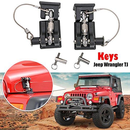 for Jeep Wrangler TJ 1997-2006 - Latches Catch Locking Kit, Anti-Thief Hood Lock | Black High Tech Materials