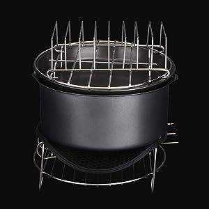 Gerioie Dishwasher Safe, Air Fryer Accessories Kit, Non-Stick Coating 7Pcs/Set 3.6L Convenient and Healthy Air Fryer Accessories Set, Easy to Clean for Kitchen Home