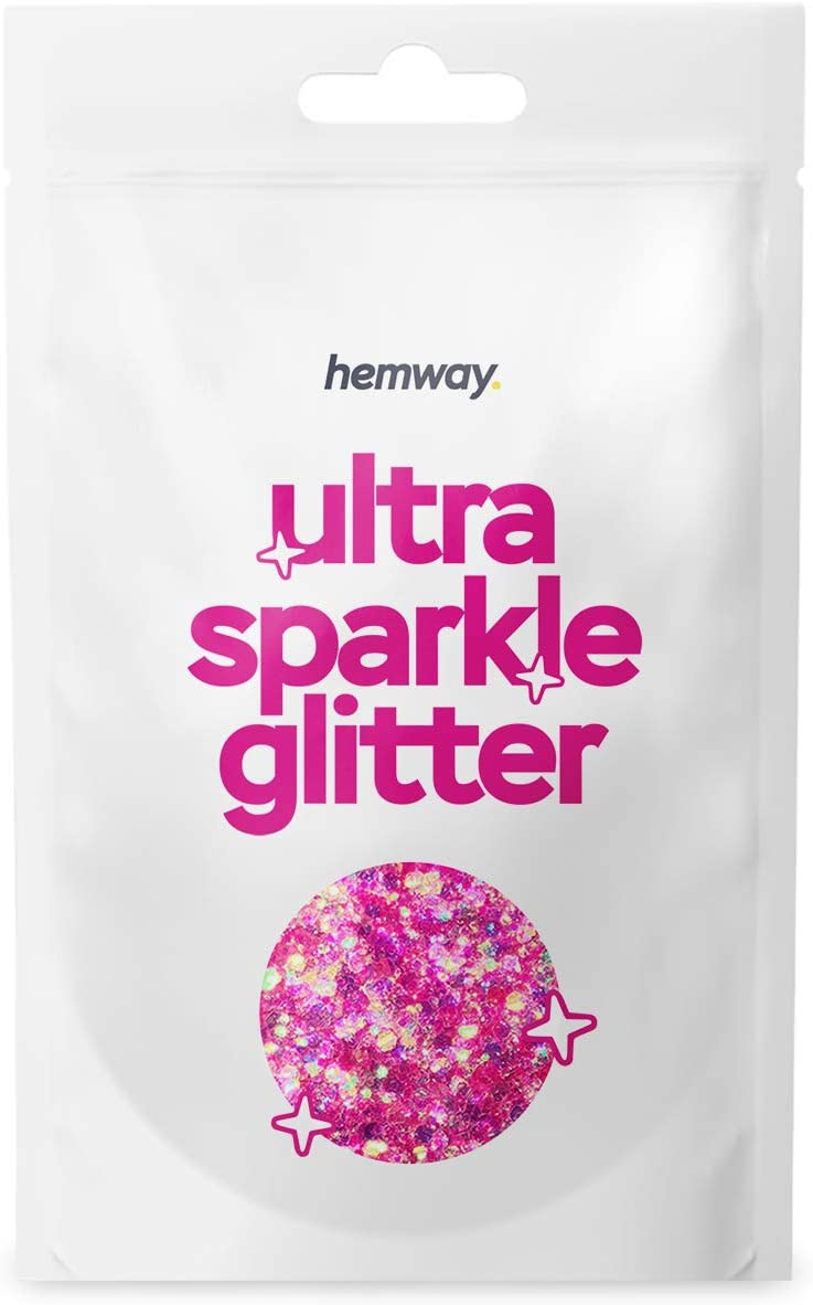 Hemway Pink Iridescent Mix Glitter Chunky Multi Purpose Dust Powder Arts & Crafts Wine Glass Decoration Weddings Flowers Cosmetic Face Eye Body Nails Skin Hair Festival 10g