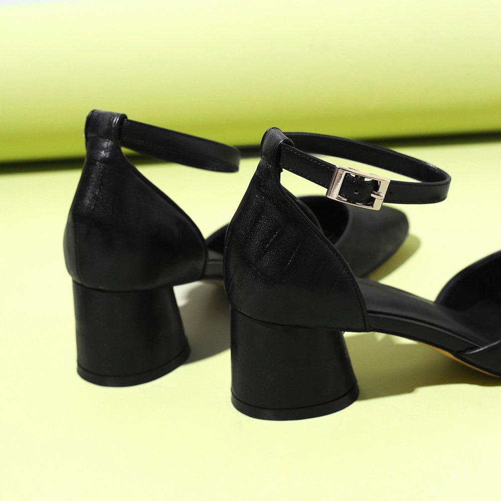 MUYII Sandalias De Tacón Grueso De Mujer Sandalias De De De Velcro Huecas Redondas,Negro-37 cf405a