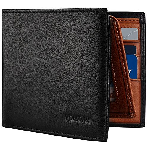Mens Two Fold Wallet (Mens Leather Wallet, 2 ID windows Retro Bifold Wallet RFID Premium Leather Wallets with 8 Card Slots, Ideal Gift VONXURY)