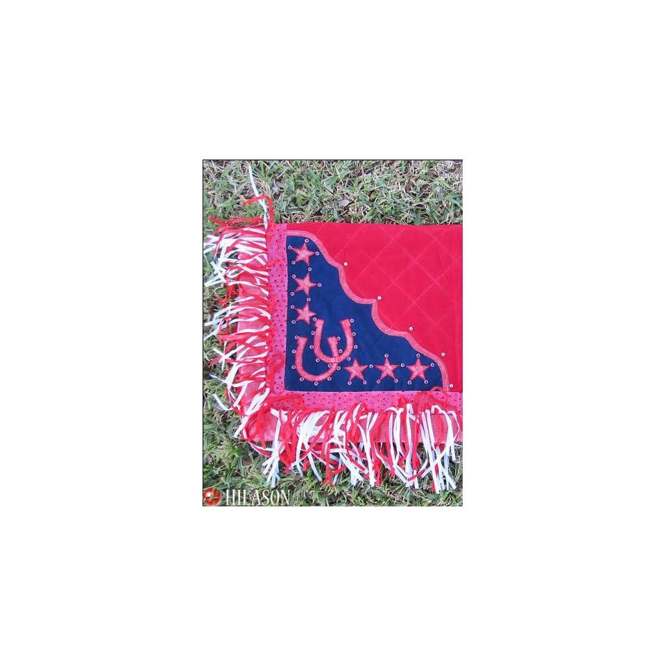 Blanket Red Body Glittering Pink Border Horse Shoes & Star Design Red & White Fringes