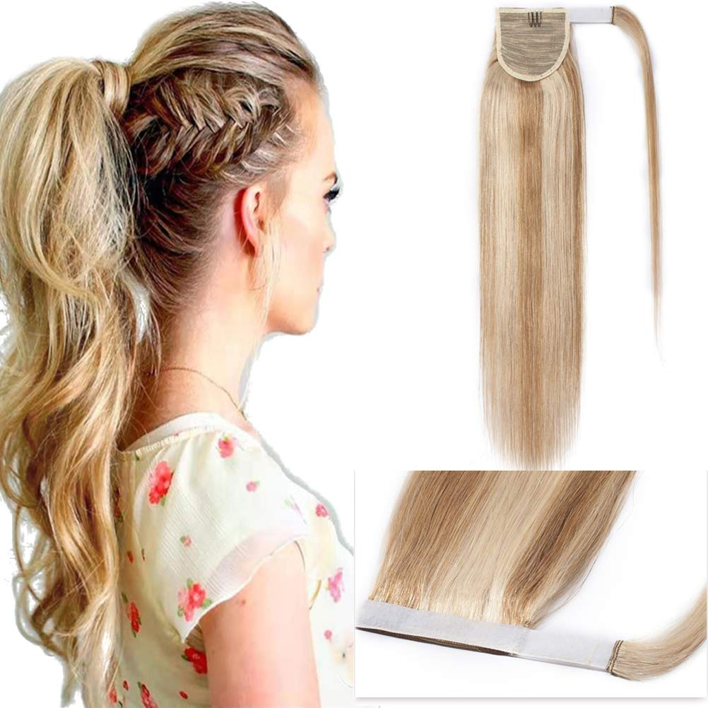 20 Inch Wrap Around Ponytail Extensions 100% Human Hair Long Straight Magic Paste Binding Pony Tail Highlight #18/613 Ash Blonde Mix Bleach Blonde