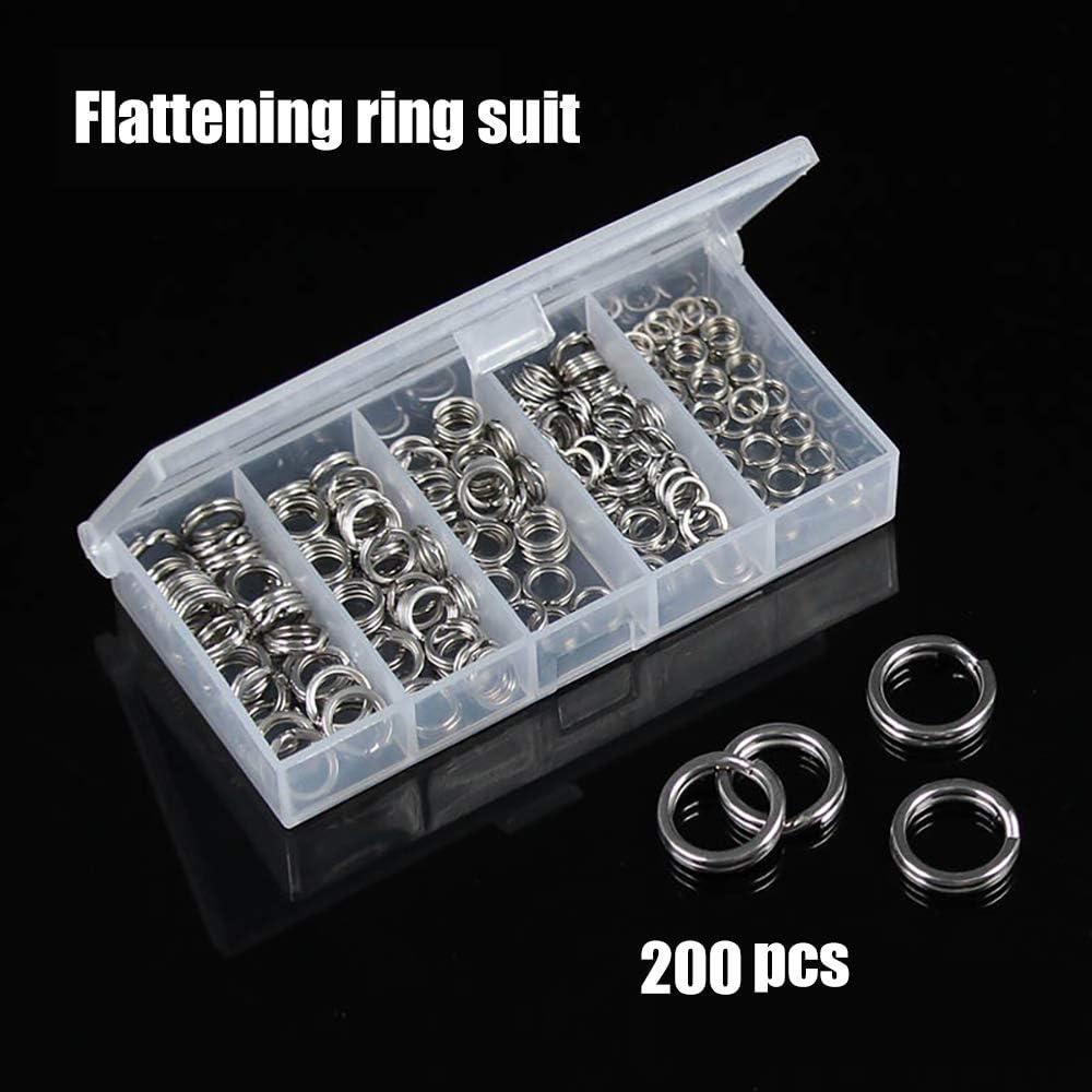 200Pcs Heavy Duty Stainless Steel Fishing Split Rings Lure Solid Loop Bait Kit