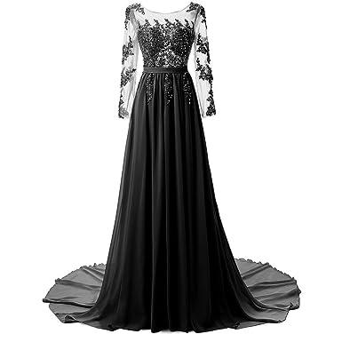f741ec658758d9 Damen Abend Maxi Cocktail-Abend-Kleider Lange Ärmel Rückenfrei Handgemachte  Stickerei Strass Elegante Hochzeit Anlass Kleider Tailed Tuxedo: Amazon.de:  ...