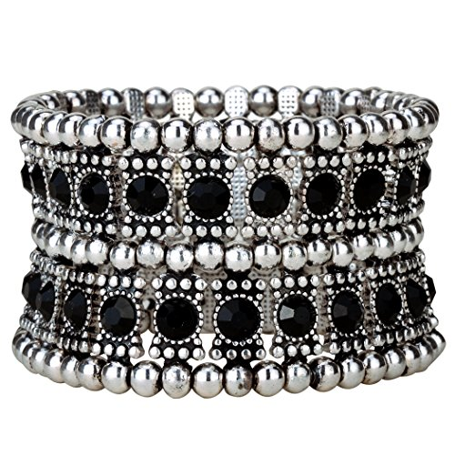 YACQ Jewelry Multilayer Crystal Stretch Cuff Bracelet for Women Gold Silver Black Color 2 Row
