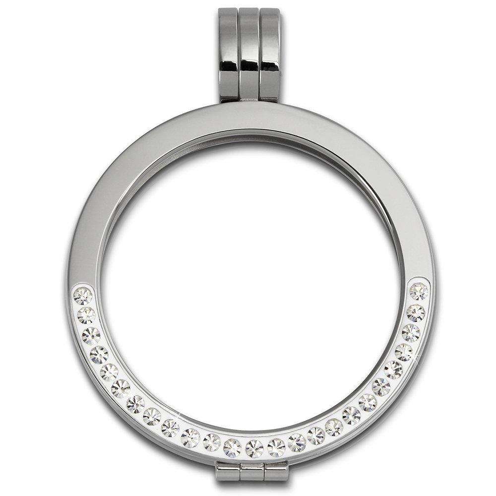Amello Coin Edelstahl-Kettenanhänger silber mit Zirkonia weiß - Edelstahlanhänger - Coinsfassung für Damen - Edelstahlschmuck Stainless Steel ESC002W