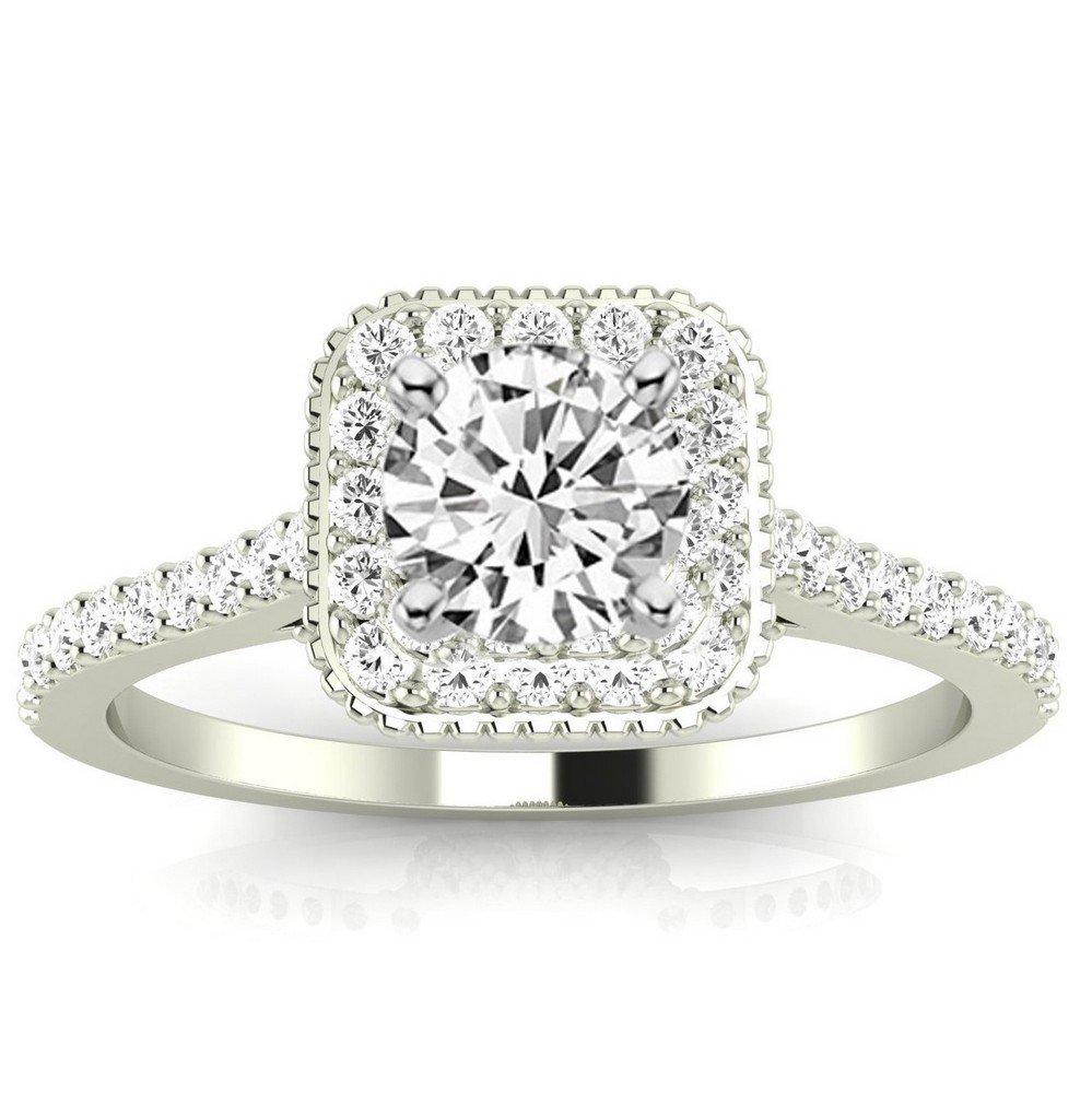 1.08 Cttw 14K White Gold Round Cut Stunning Vintage Halo Style Diamond Engagement Ring With Milgrain with a 0.73 Carat J-K Color I1 Clarity Center