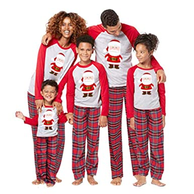 4fbbf41395 Christmas Pyjamas Set Family Matching Santa Tops Pants Outfits for Father  Mother Kids Sleepwear Nightwear Homewear  Amazon.co.uk  Clothing