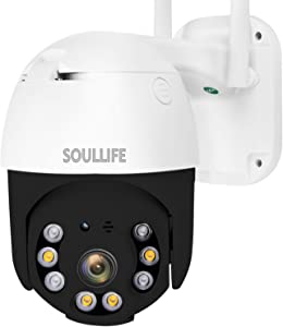 SoulLife Security Outdoor Camera, WiFi Camera 1080P HD Pan Tilt Zoom , Motion Detection Alarm, Two-Way Audio Night Vision, Support Max 128GB SD WiFi Home Indoor Camera,Black
