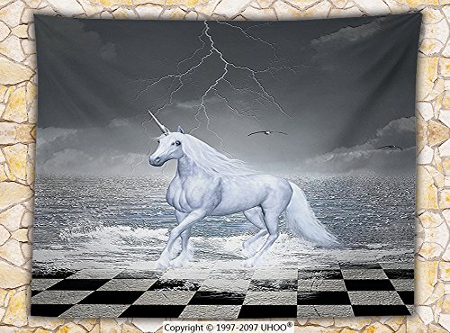Unicorn Home and Kids Decor Fleece Throw Blanket Digital Surreal Sea on Chessboard with Horse Pegasus Myth Print Throw Grey White