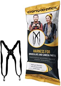 Cronyoptics Comfortable Bino Harness - The Binocular Harness Strap is Light-Weight - Easy to Attach and Detach for Binoculars, Cameras and Rangefinders