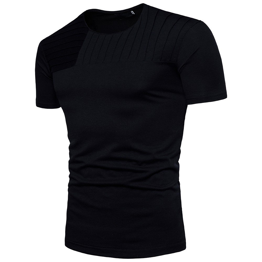 Winsummer Mens Casual Slim Fit Short Sleeve T-Shirts Cotton Blended Soft Lightweight Crew-Neck Black