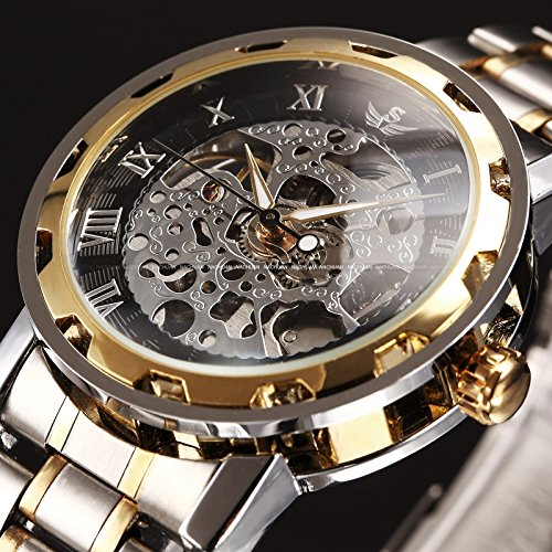 Transparent Gold Watch (New Men Classic Transparent Steampunk Skeleton Mechanical Stainless Steel Watch Black & Gold)