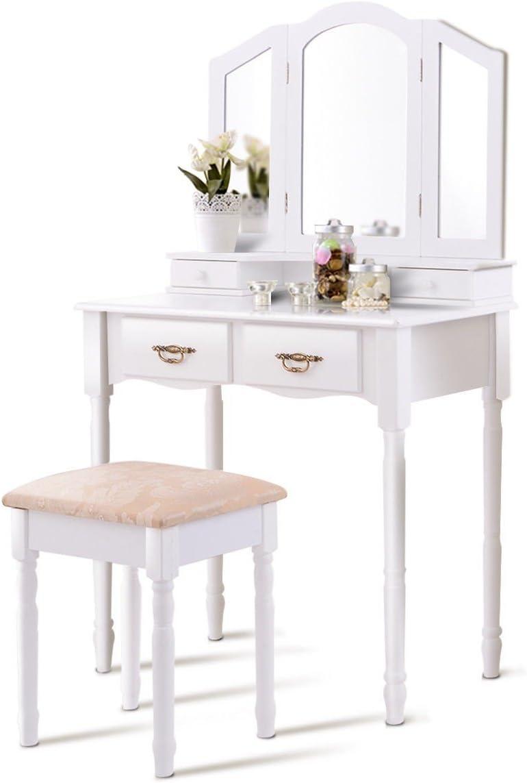 Vanity Set, WATERJOY Tri-Folding Mirror Makeup Vanity Table Set with Cushioned Stool Mirror Table Set Home Furniture 4 Drawer White