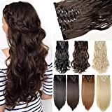 """S-noilite®17"""" Long Curly Wavy Dark Brown Clip in on 8 Pieces Full Head Set Hair Extensions 8pcs Hairpiece Extension for Girl Lady Women"""