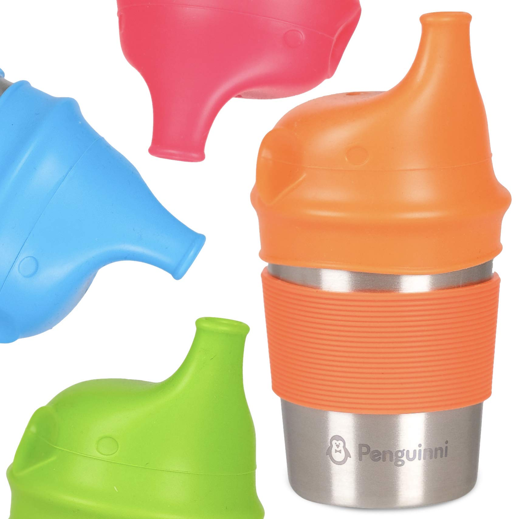 Stainless Steel Sippy Cup with Silicone Lids by Penguinni - 8oz Cups - 4 Pack - Spill Proof and No Leaks - Non Plastic and BPA Free - Non Spill Sippy Cups For Toddlers Kids - FREE Lid Replacements
